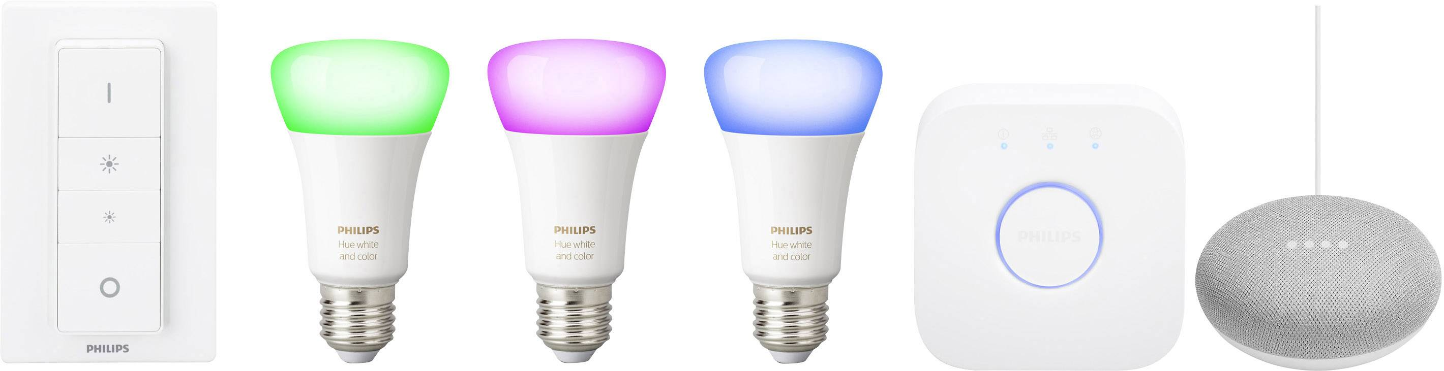 Philips Hue Starter Kit E27 Philips Lightinghuestarter Kite2710 Wrgbw Google Home Mini