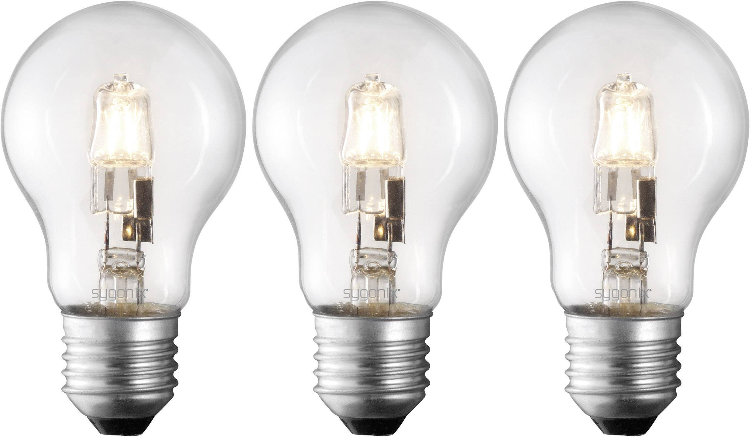 Halogen E27 Sygonix Eco Halogen Eec C A E E27 95 Mm 230 V 42 W Warm White Pear Shape Dimmable 3 Pc S
