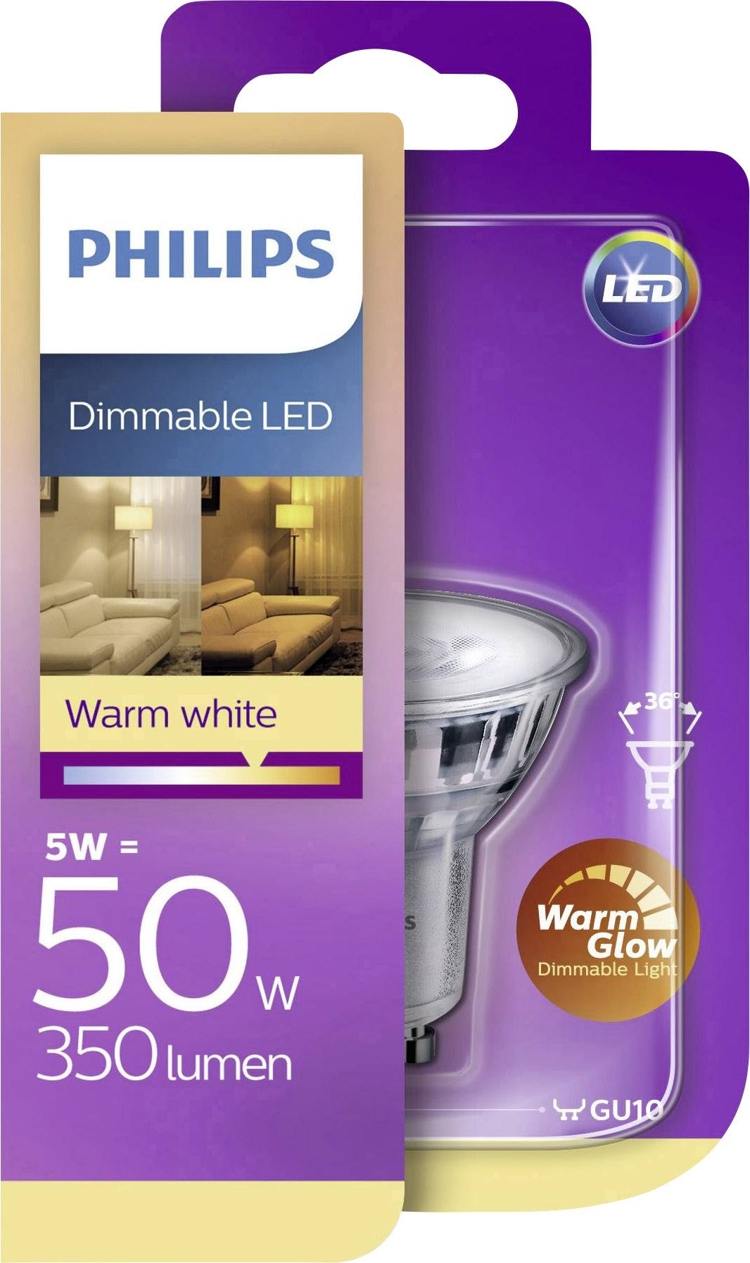 Led Gu10 Dimbaar Warm Wit Led Lamp Gu10 Reflector 5 W 50 W Warmwit Dimbaar Warmglow 1 Stuks Philips Lighting 929001364101