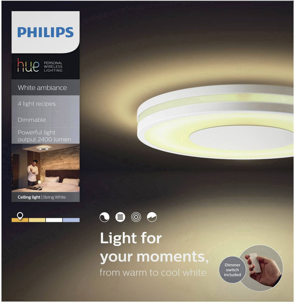 Philips Lampen Plafond Philips Lighting Hue Led Plafond En Wandlamp Being Led Vast Ingebouwd 32 W Warm Wit Neutraal Wit Daglicht Wit