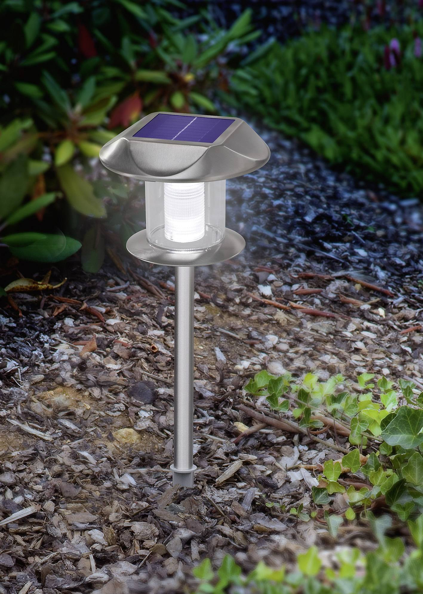 Tuin Lamp Esotec Solar Tuinlamp Sunny 102093 Led Warm Wit Neutraal Wit Rvs