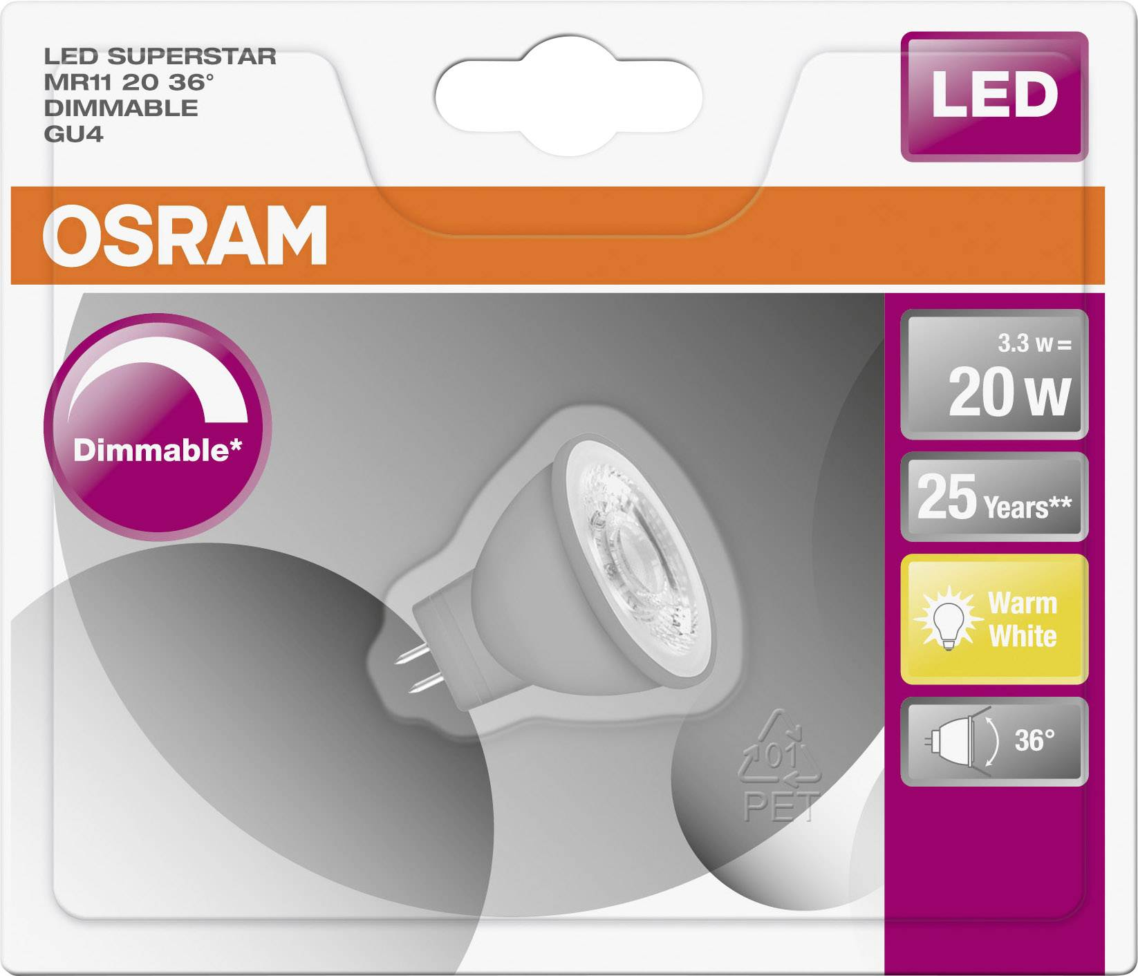 Led Gu4 Dimmbar Osram Led Gu4 Reflektor 2 6w 20w Warmweiß Ø X L 35mm X