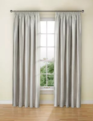 Ready Made Curtains 108 Drop Textured Faux Silk Blackout Pencil Pleat Curtains