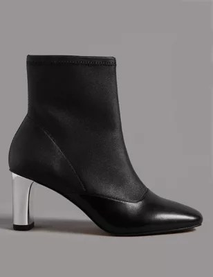 Leather Side Zip Stretch Feature Ankle Boots Autograph Ms