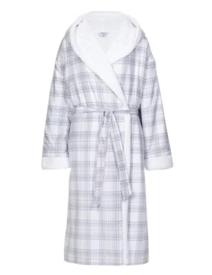 Dressing Maison Pure Cotton Hooded Checked Dressing Gown