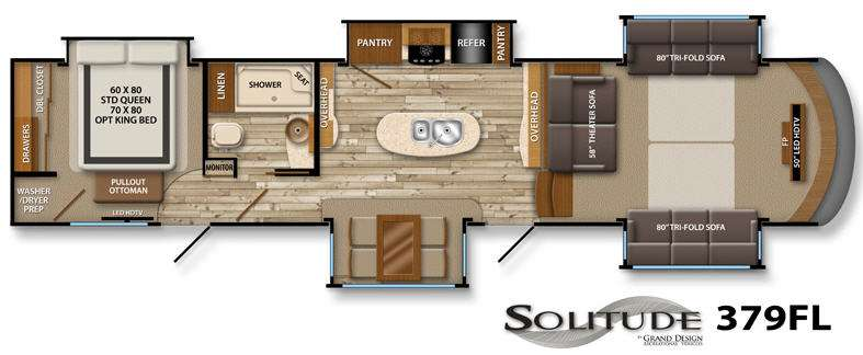 New 2014 Grand Design Solitude 379FL Fifth Wheel at General RV - front living room fifth wheel