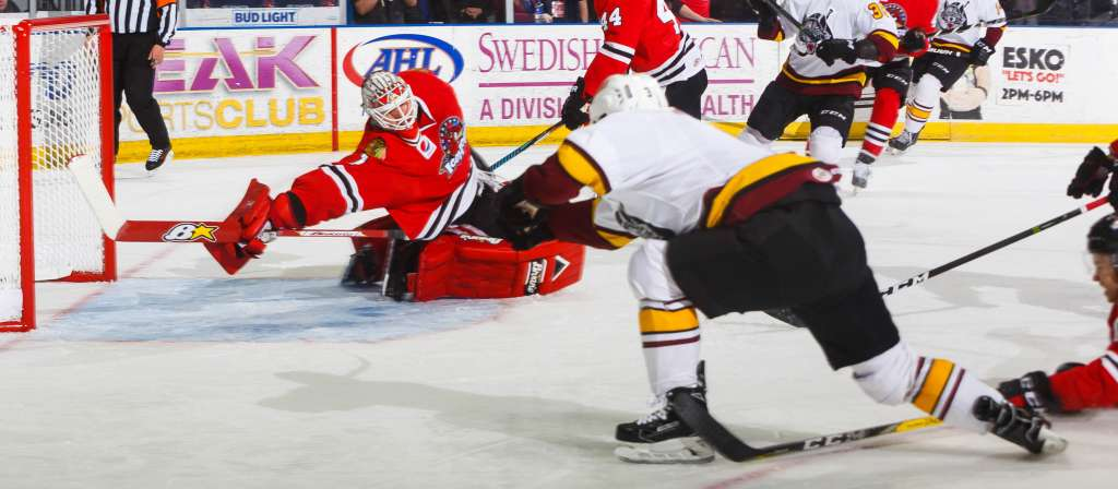Wolves\u0027 Road Win Streak Busted by IceHogs - Chicago Wolves