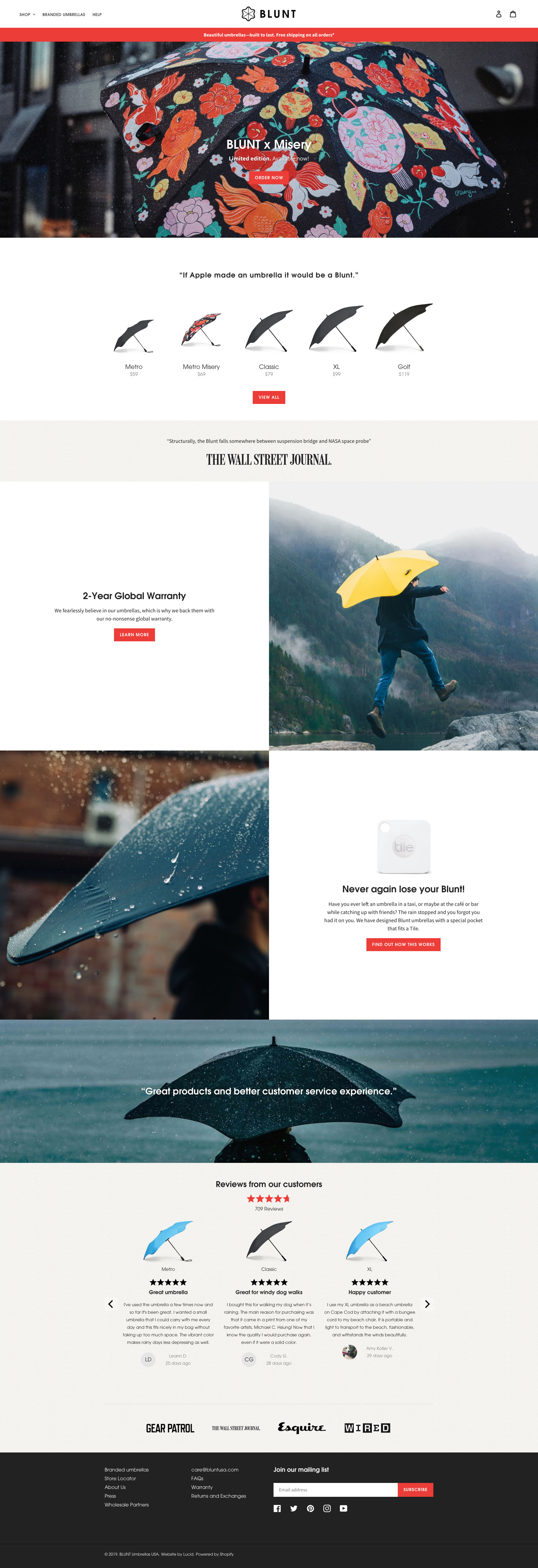 Blunt Umbrellas Usa Shopify Plus Website Redesign And Ongoing Growth Optimization For The World S Best Umbrellas By Lucid