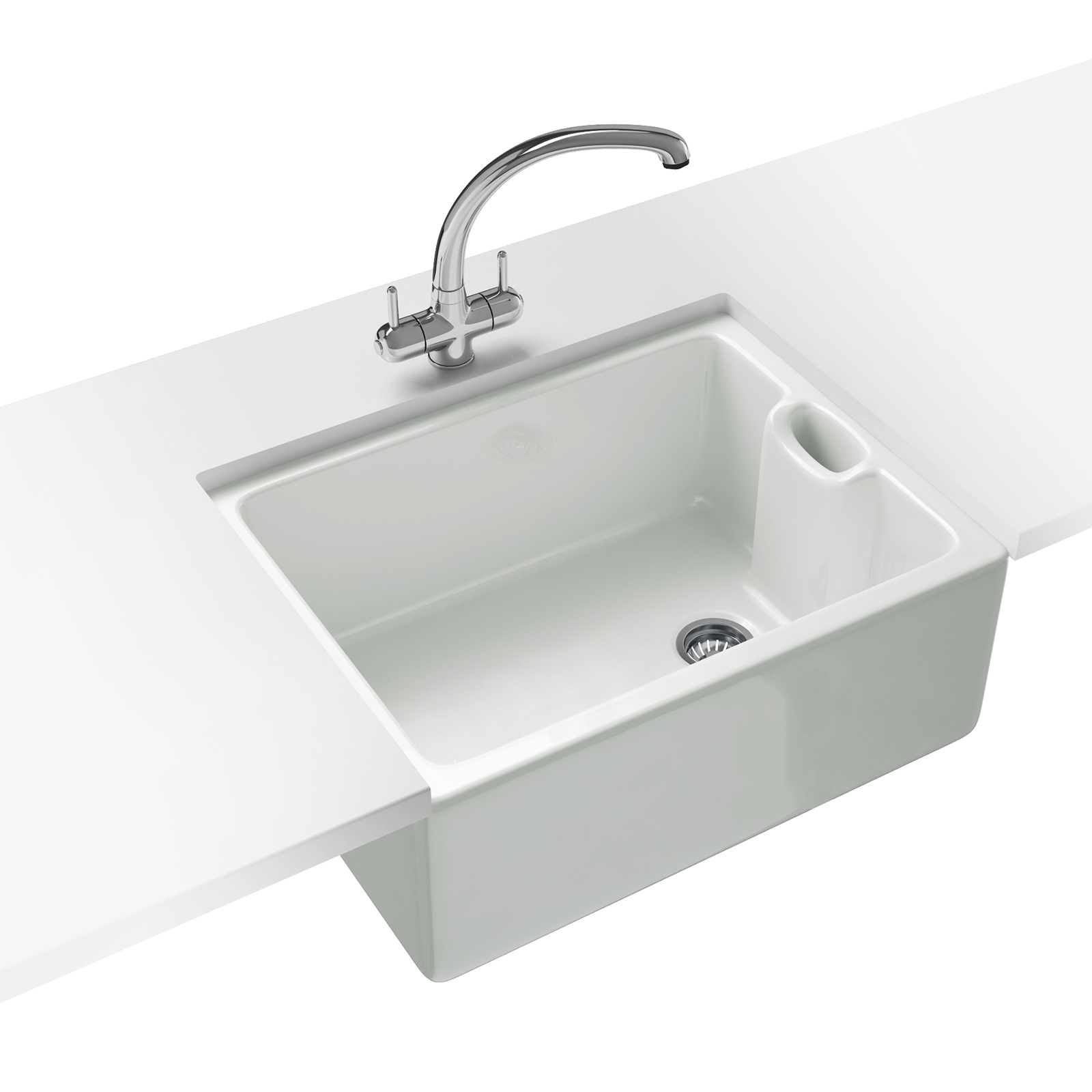 white kitchen sink Belfast Propack BAK Ceramic White Kitchen Sink And Tap