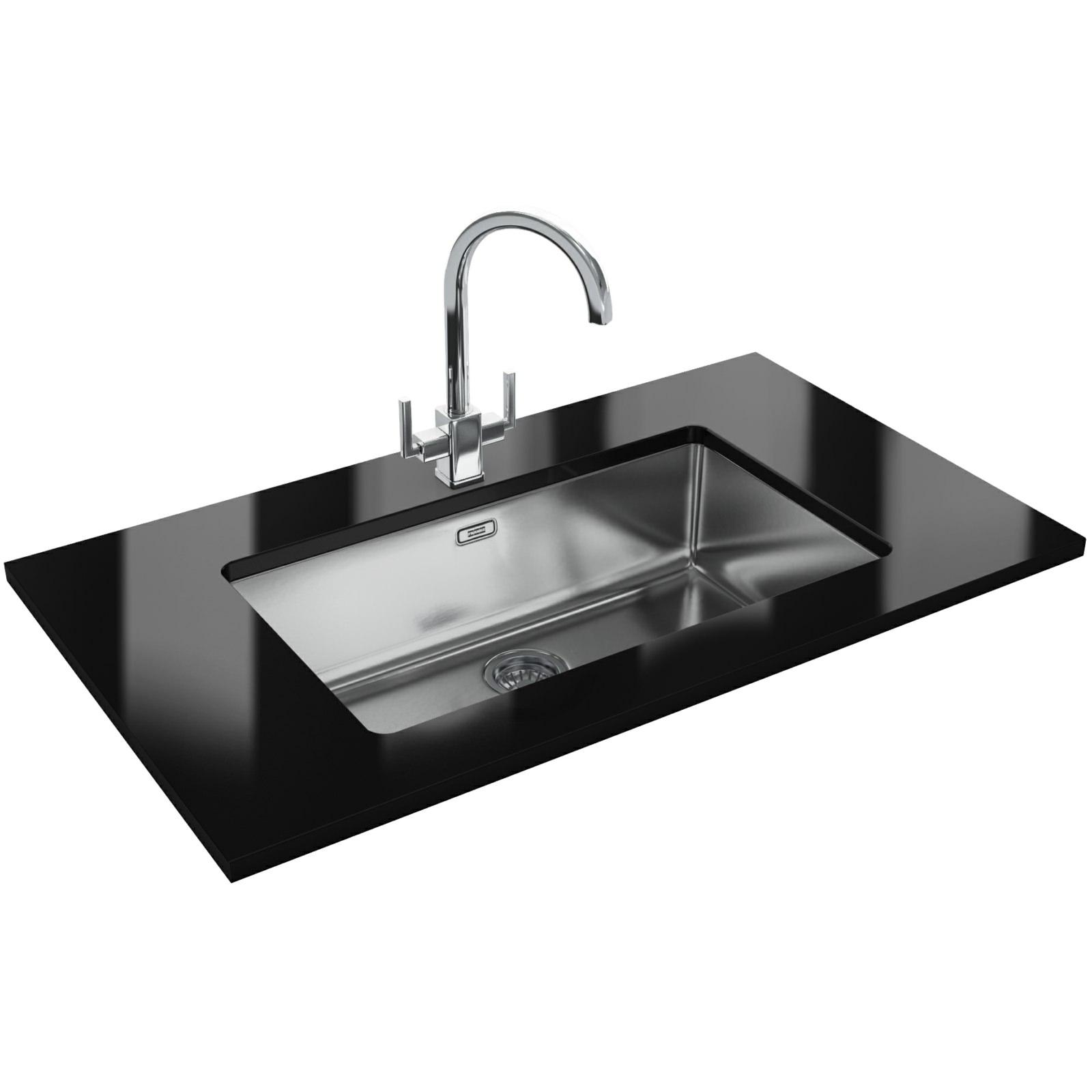 astini celso 15 bowl black glass kitchen sink asblkr astini designer kitchen sinks Franke Kubus Designer Pack Kbx 70 Stainless Steel Kitchen Sink