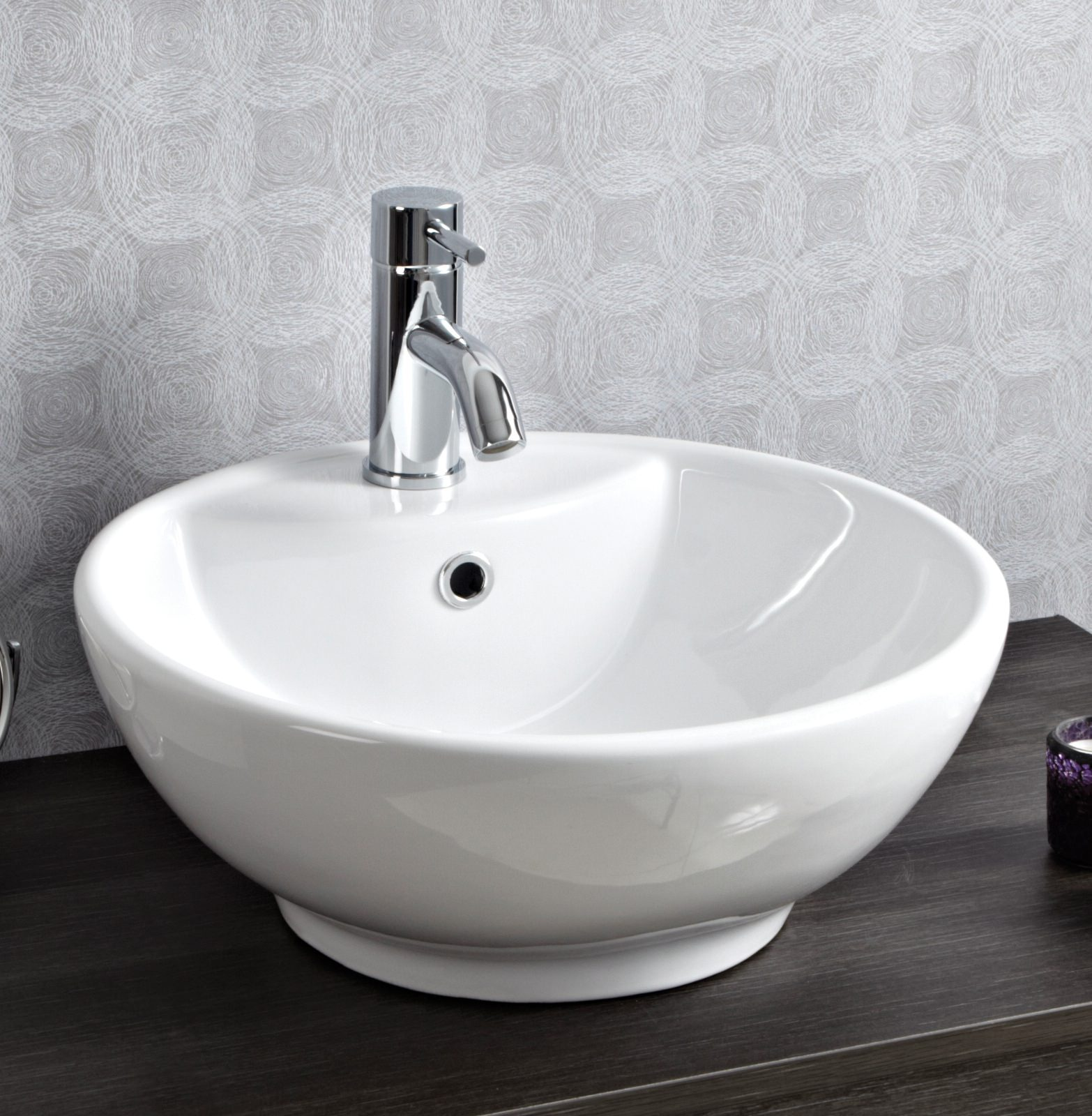 Waskom Wit Phoenix 460mm White Round Counter Top Basin - Vb002