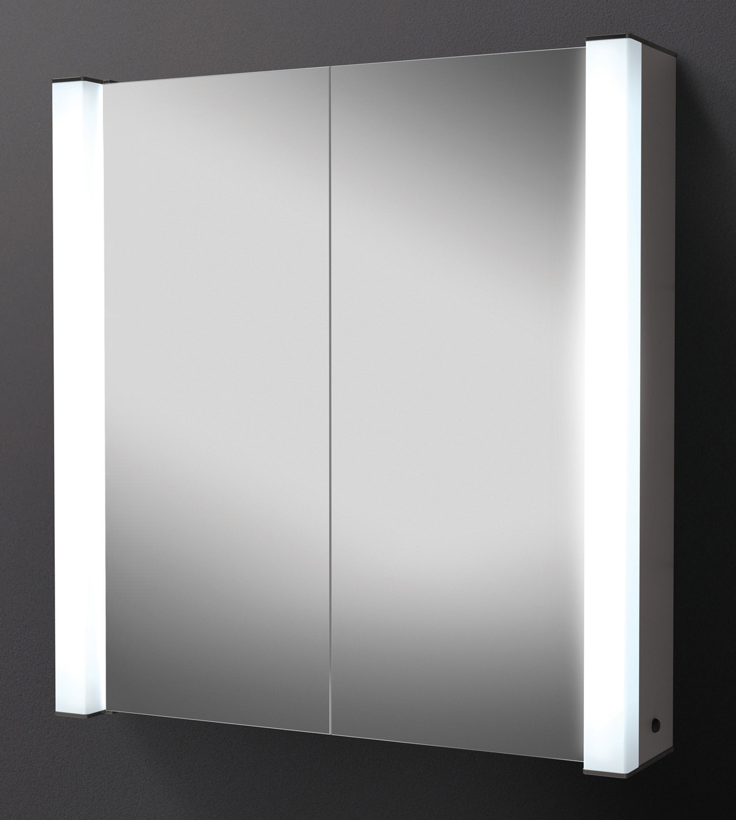 Mirrored Bathroom Cupboard Hib Photec Double Door Illuminated Aluminium Mirrored