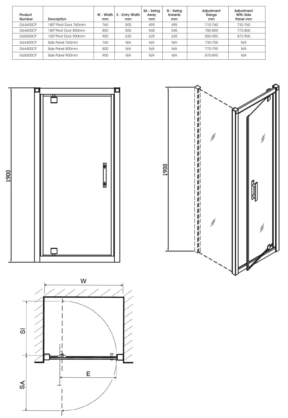 Technische Zeichnung Tür Pivoted Door Drawings & Twyford Geo6 180 Pivot Shower