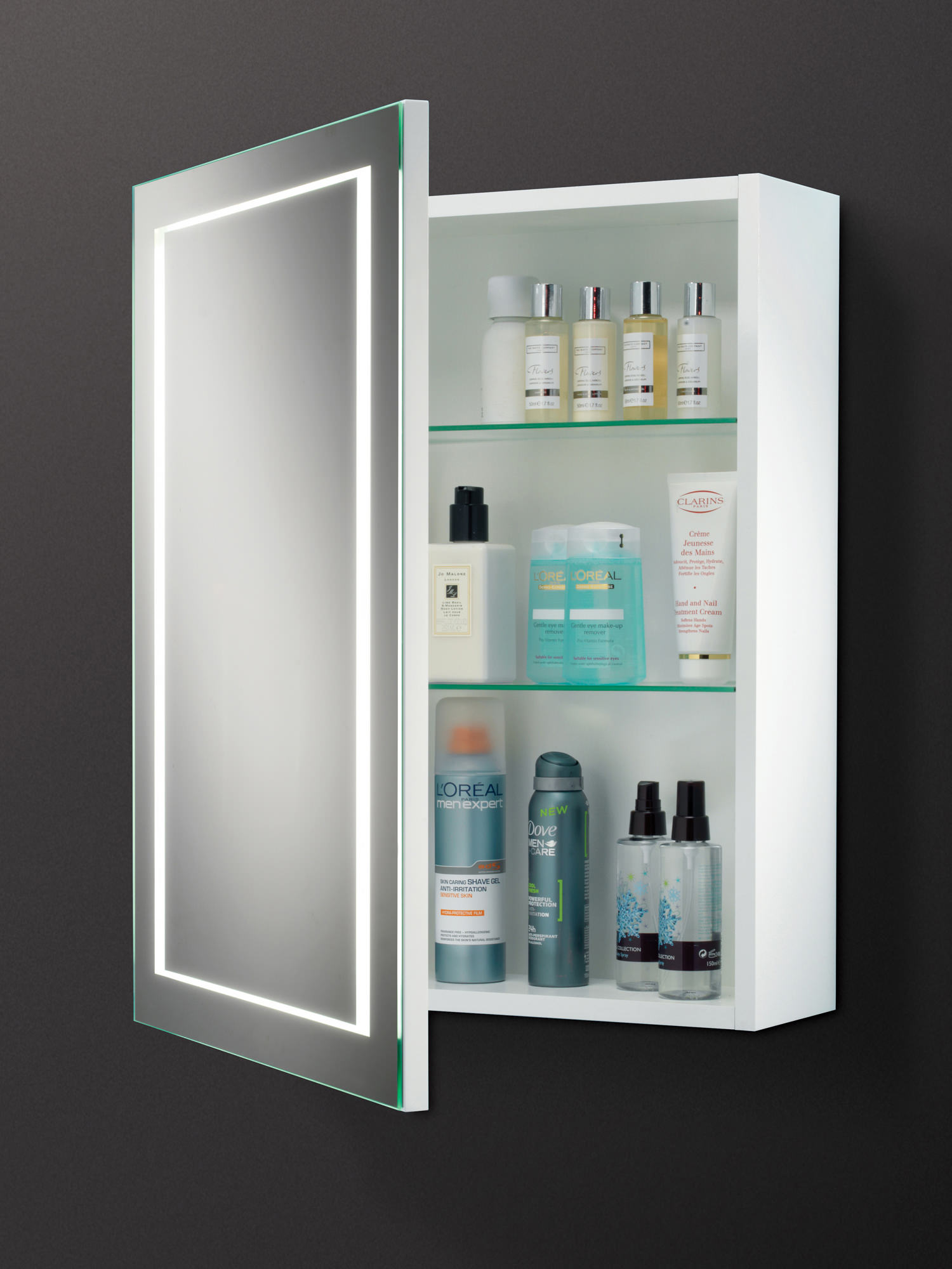 Bathroom Cupboard Mirror Hib Austin Single Door Led Back Lit Illuminated Cabinet