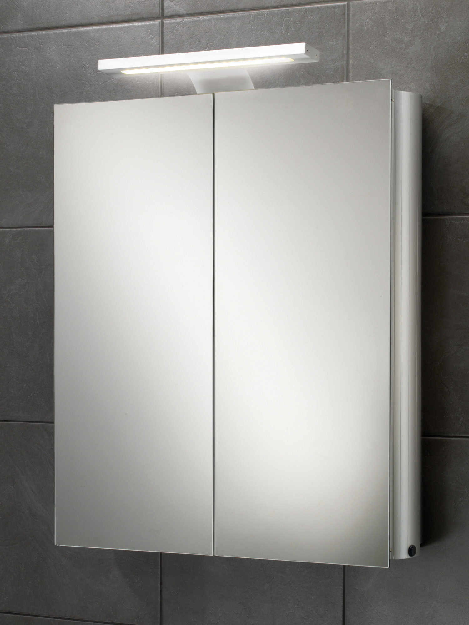 Mirrored Bathroom Cupboard Hib Atomic Led Illuminated Double Door Aluminium Mirrored