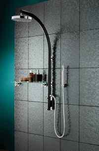 Prism Black Inline Vertical Shower Pole With Integral Diverter