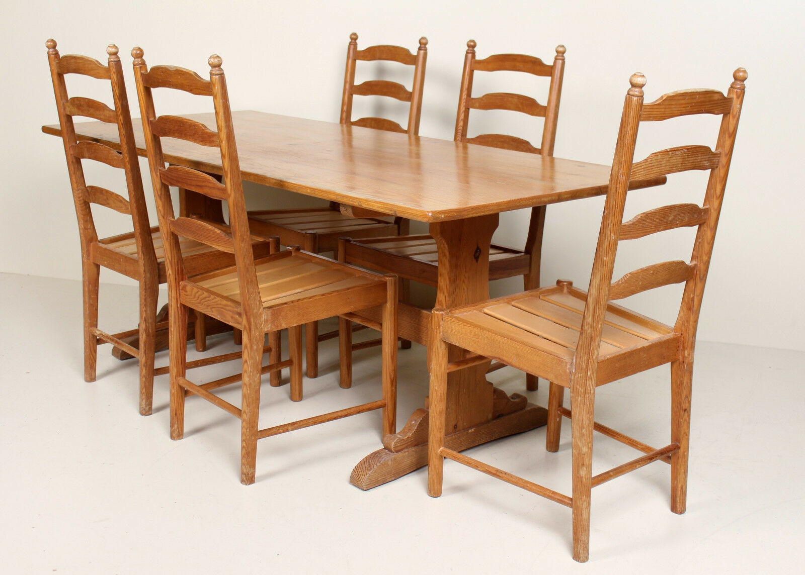 Dining Room Furniture Rustic Vintage Ercol Pine Refectory Dining Table And 5 Chairs Rustic Country Farmhouse
