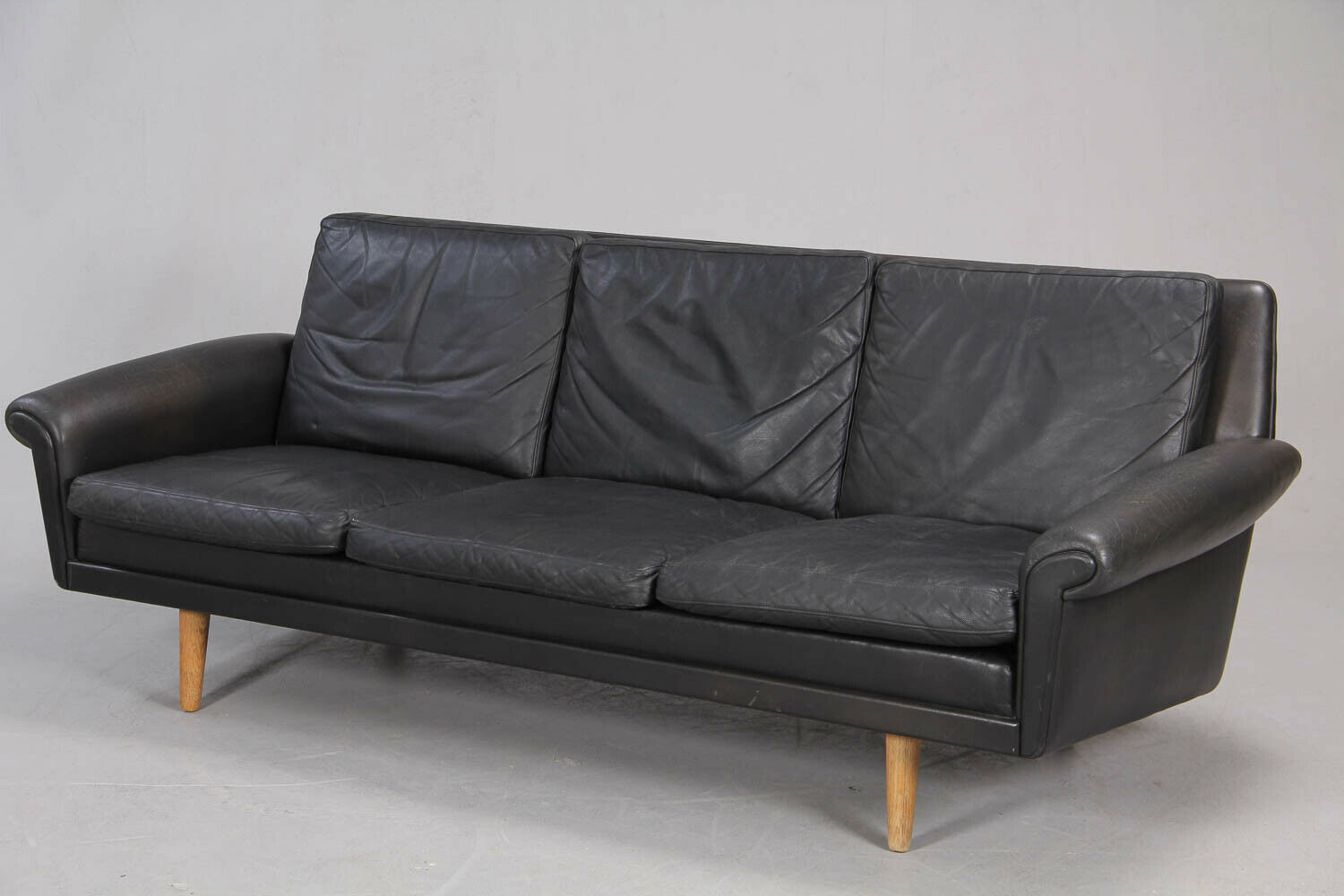 Møbler Sofa Danish Mid Century Mobler Black Leather 3 Seater Sofa 1960 S