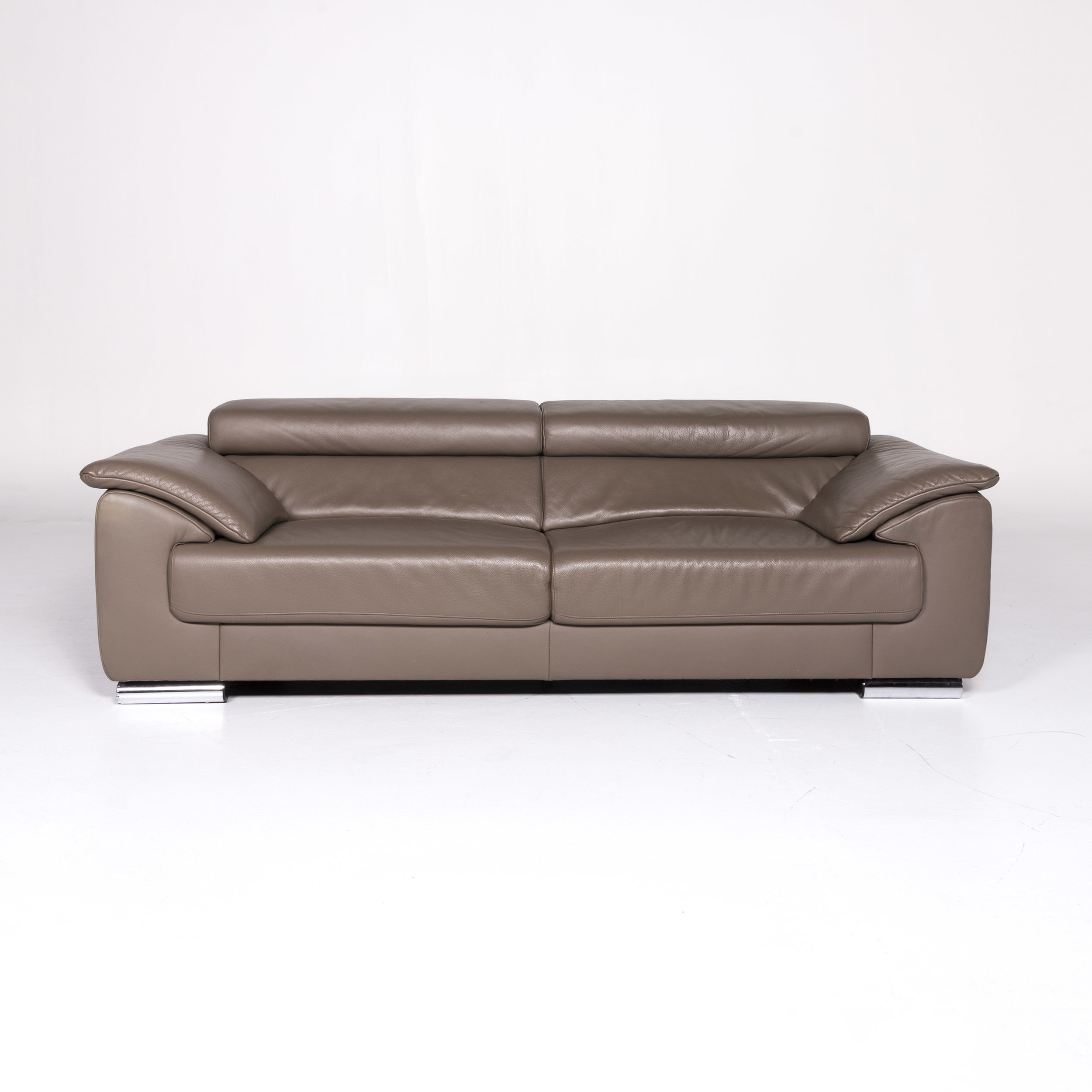 Ewald Schillig Designer Sofa Ewald Schillig Brand Blues Leather Designer Sofa Brown Three Seater 9131