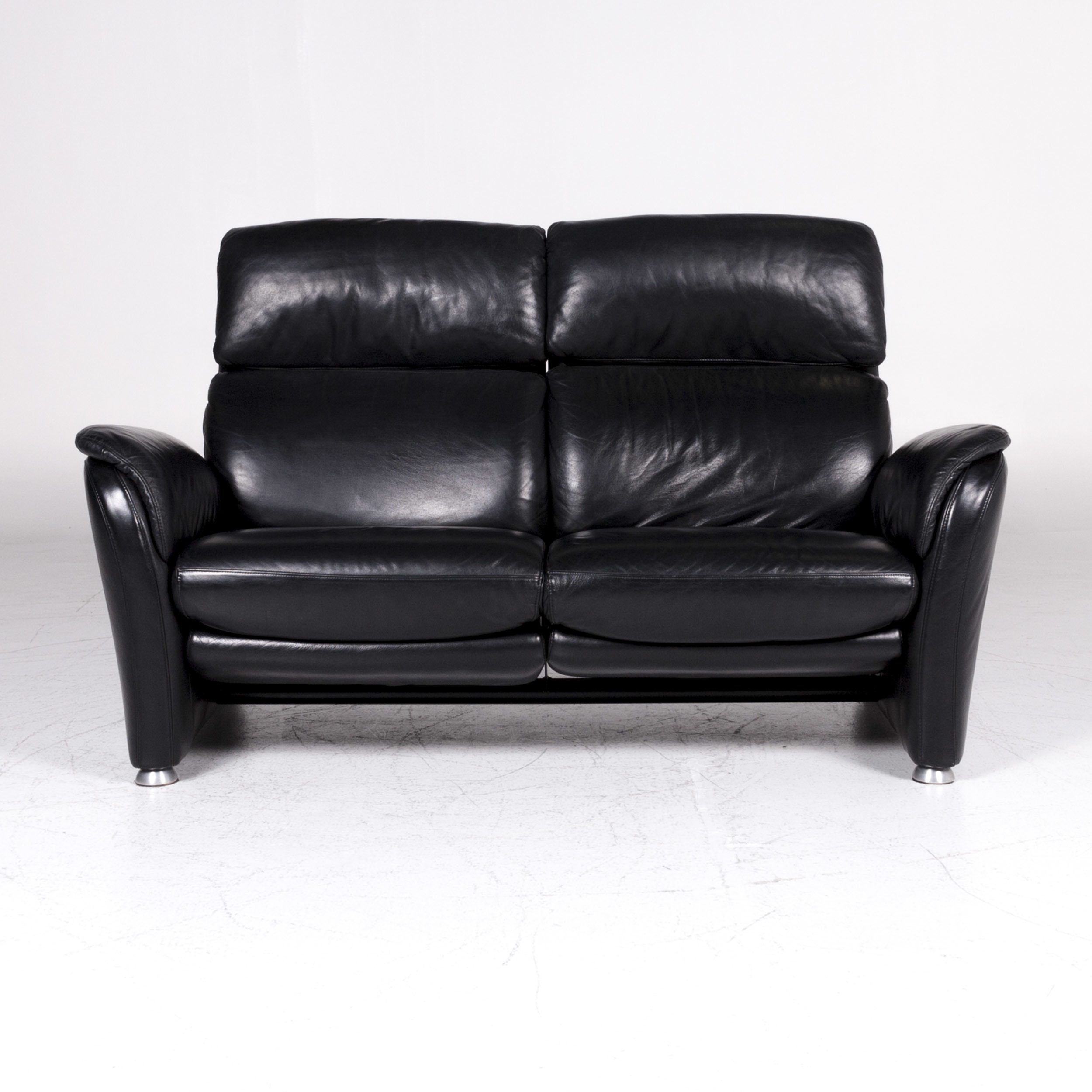 Willi Schillig Ecksofa Longlife Leder Willi Schillig Designer Leather Sofa Black Two Seater Couch Relax Function 9200