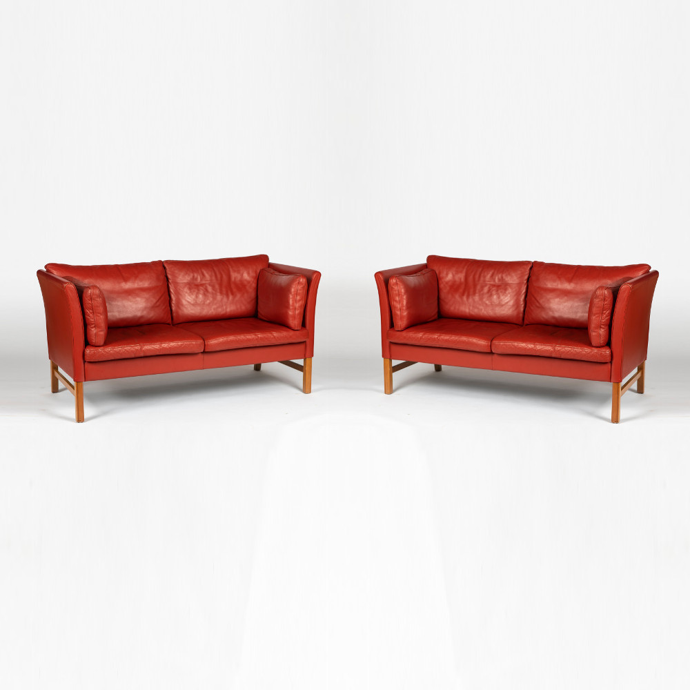 Møbler Sofa Pair Of Red Leather Sofas By Skipppers Mobler
