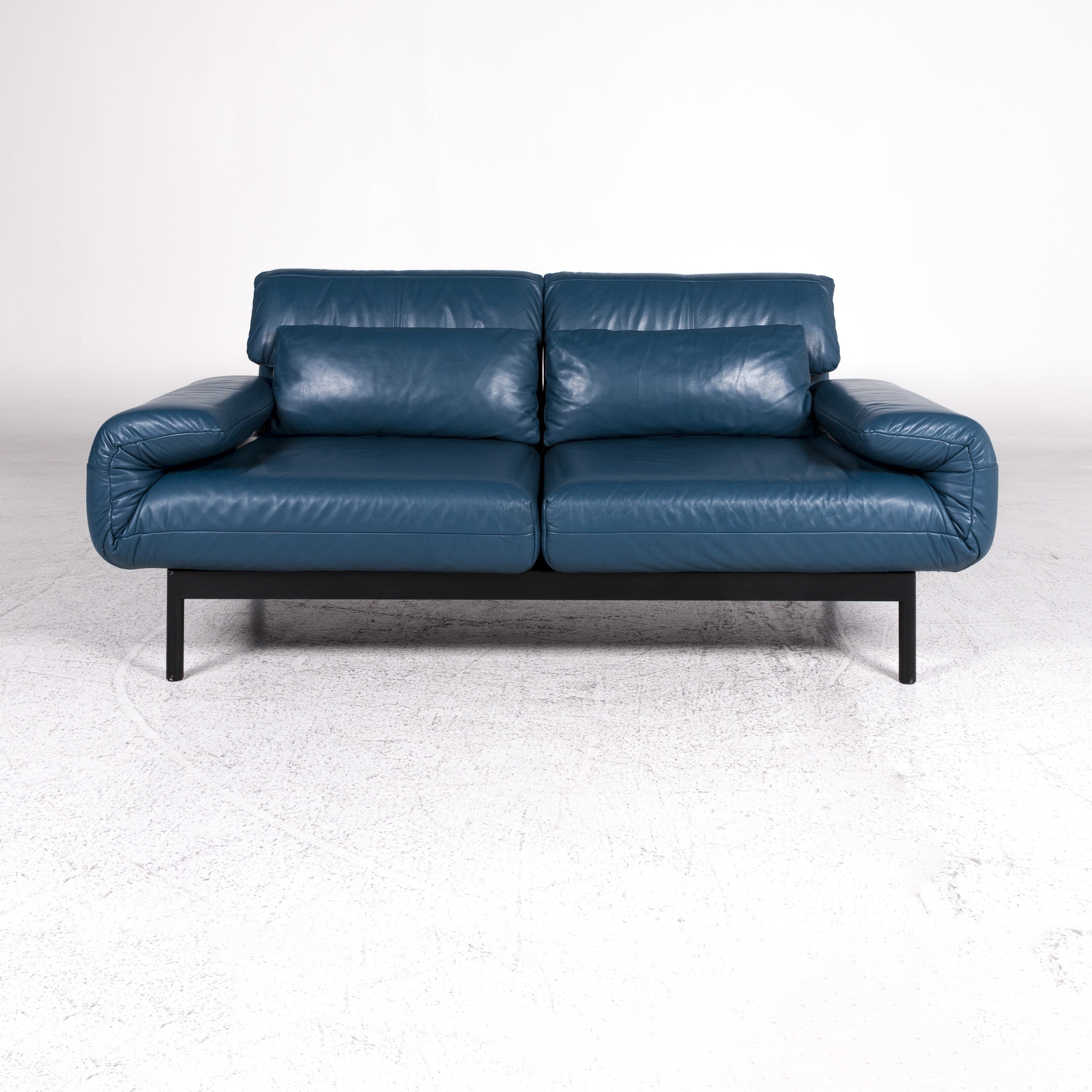 Couch Petrol Rolf Benz Plura Designer Leather Sofa Blue Petrol Two Seater Relax Function Couch 9555