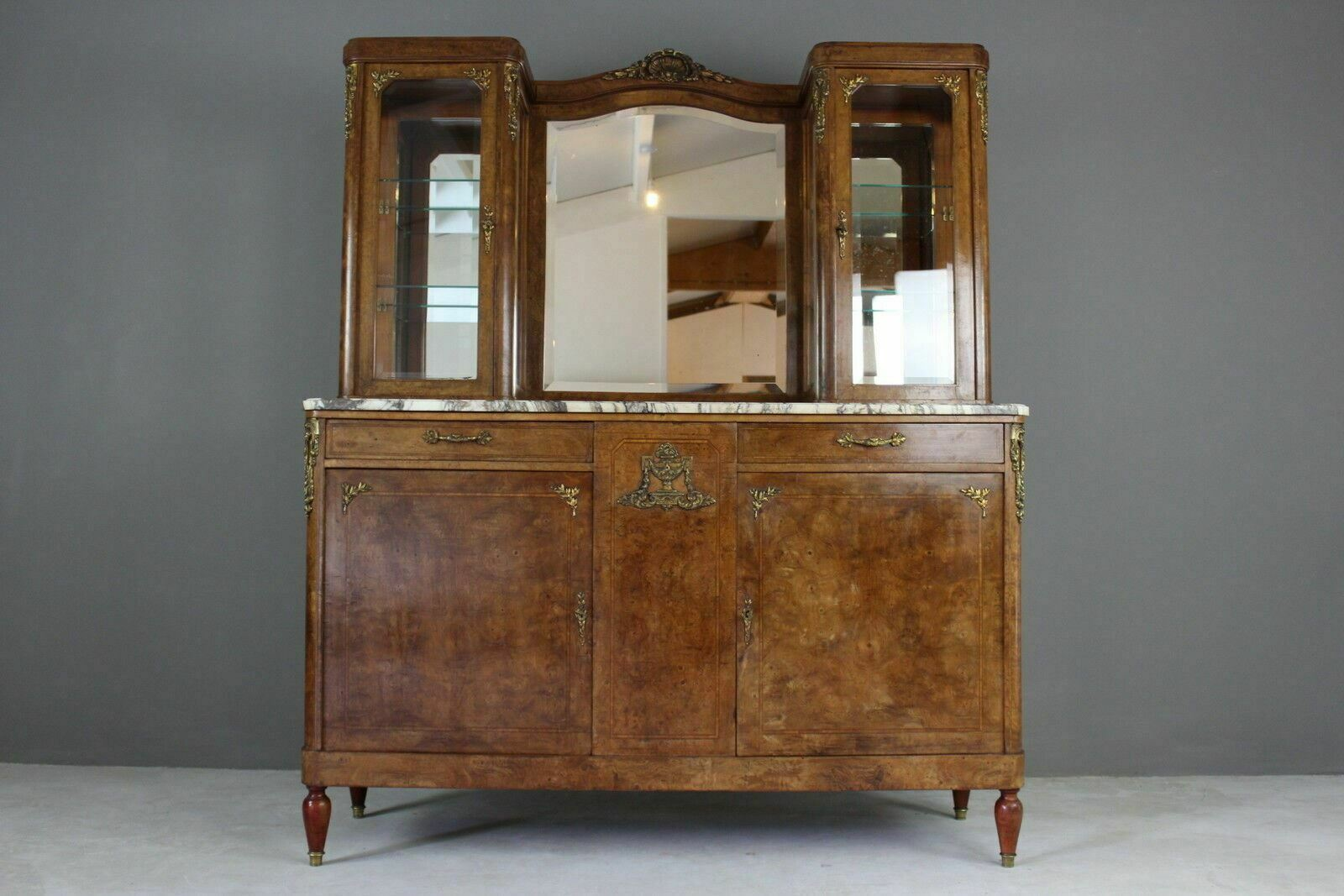 Sideboard Vitrine Antique French Burr Walnut Marble Vitrine Display Cabinet Sideboard Dresser