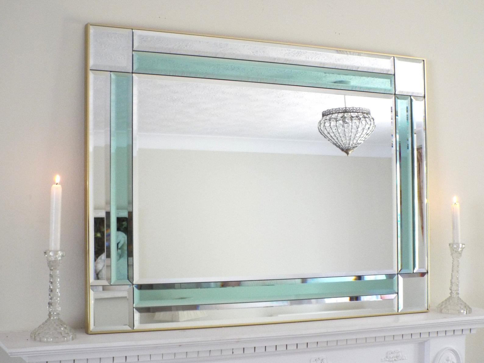 Art Deco Style Mirror Art Deco Style Mirror Teal Green Panel Mirror Colored Glass Mirror Large Hollywood Regency Style Mirror