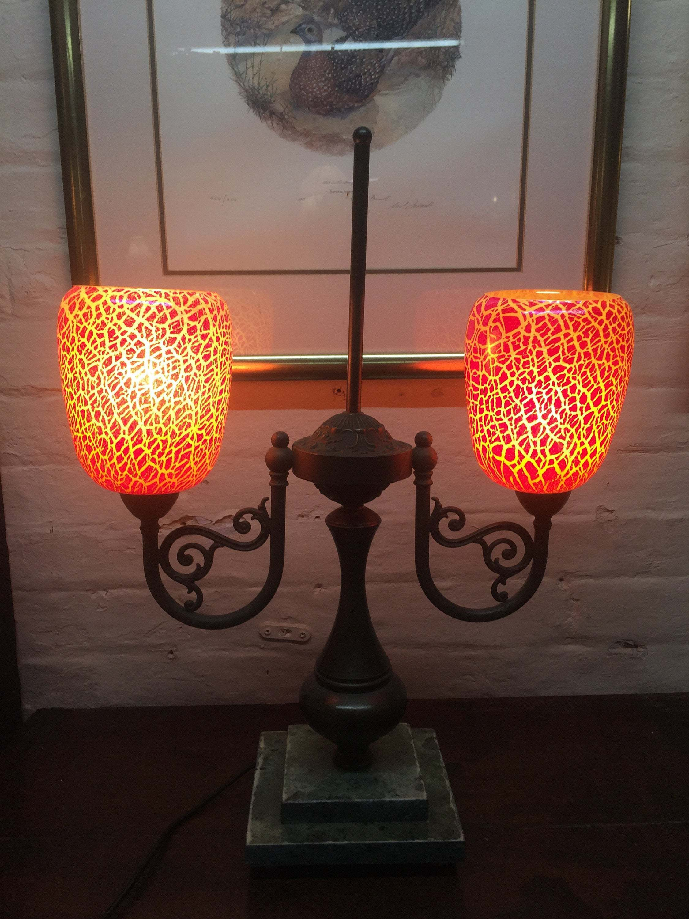 Glass Crackle Lamp Art Deco 1920s Bronze And Crackle Glass Double Table Lamp On Marble Base Art Deco French Lighting Art Deco French Cinema Lights Bronze