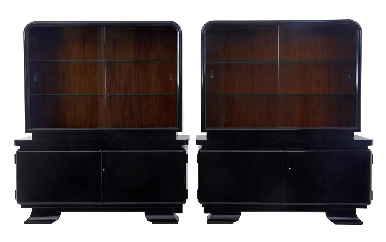 Sideboard Vitrine Stunning Pair Of Art Deco Black Lacquered Sideboard Vitrine
