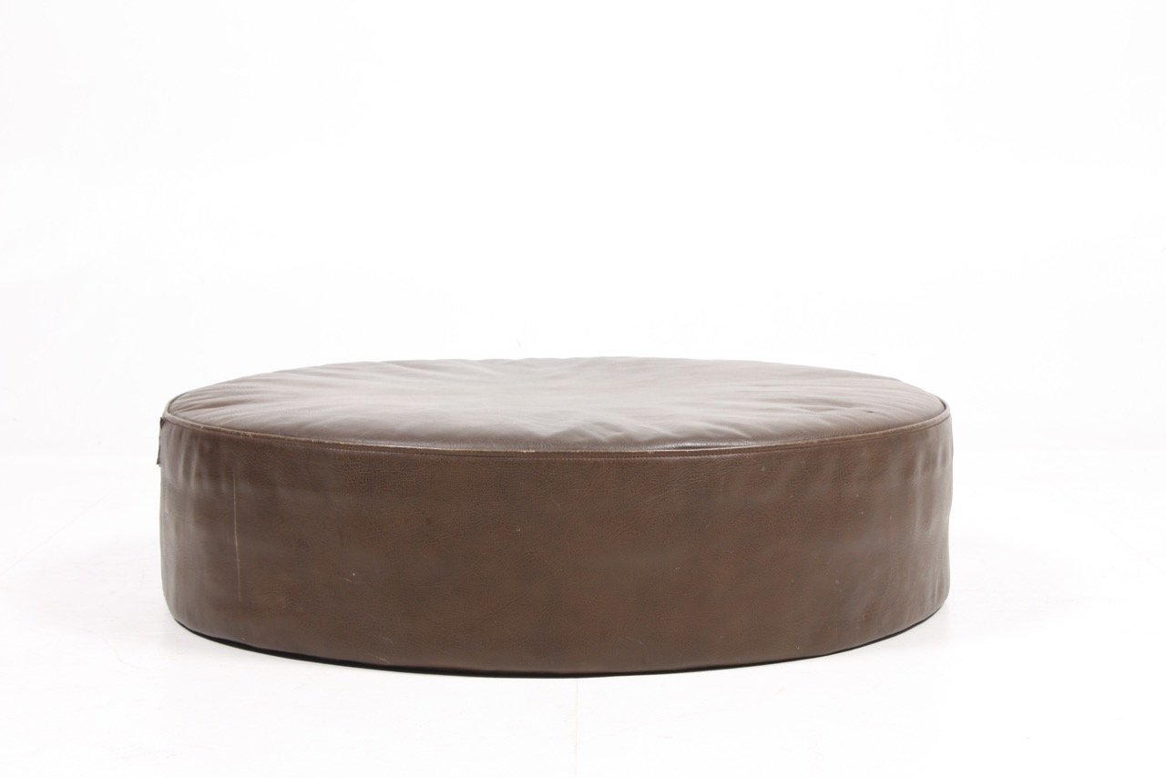 Pouf Vintage Vintage Danish Leather Pouf 1960s