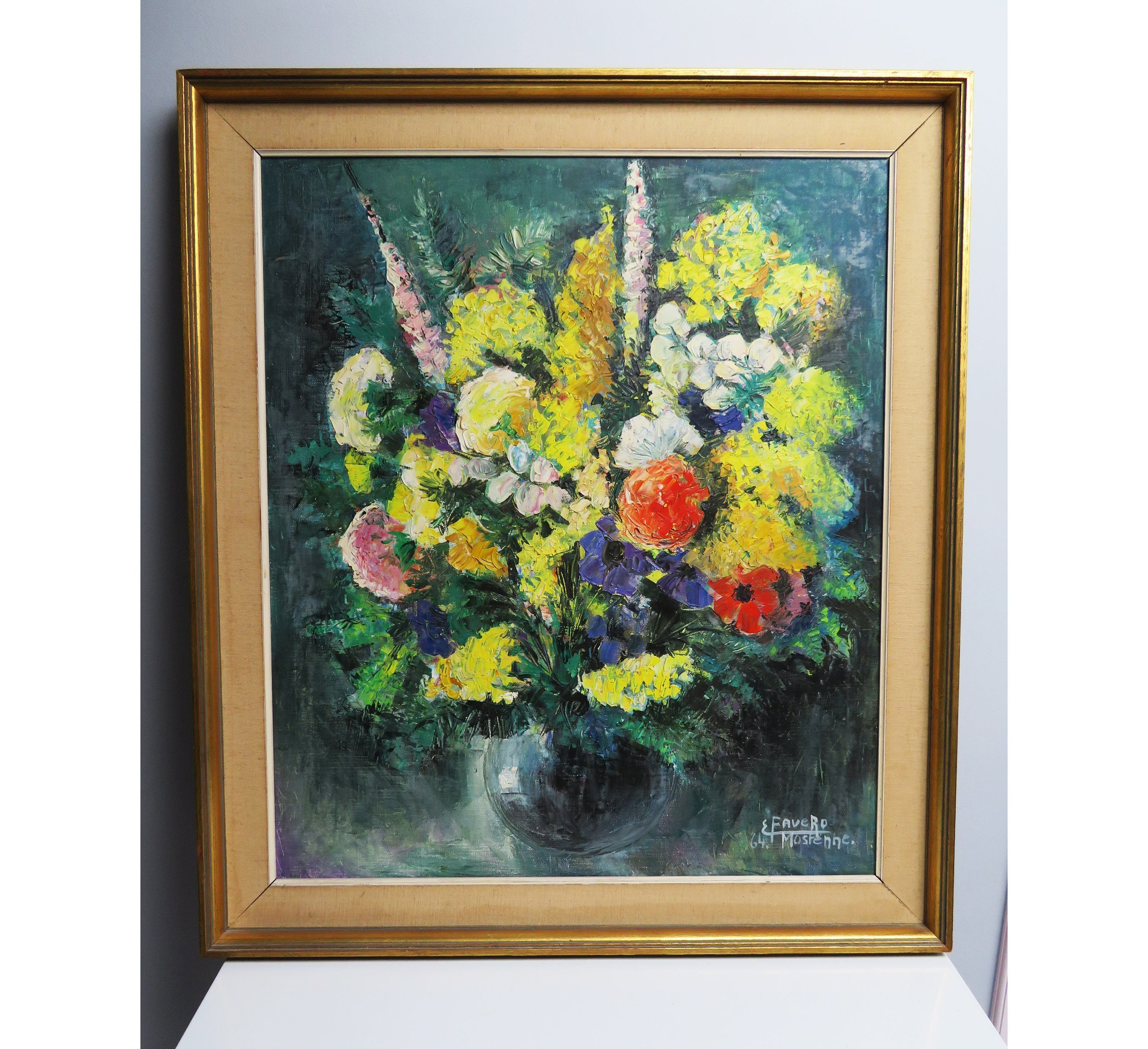 Large Frame Mat Large Vintage Acrylic Painting And Wood Frame Still Life Bouquet Of Flowers Cloth Mat Gilt Color Frame Palette Knife Painting Yellow Red