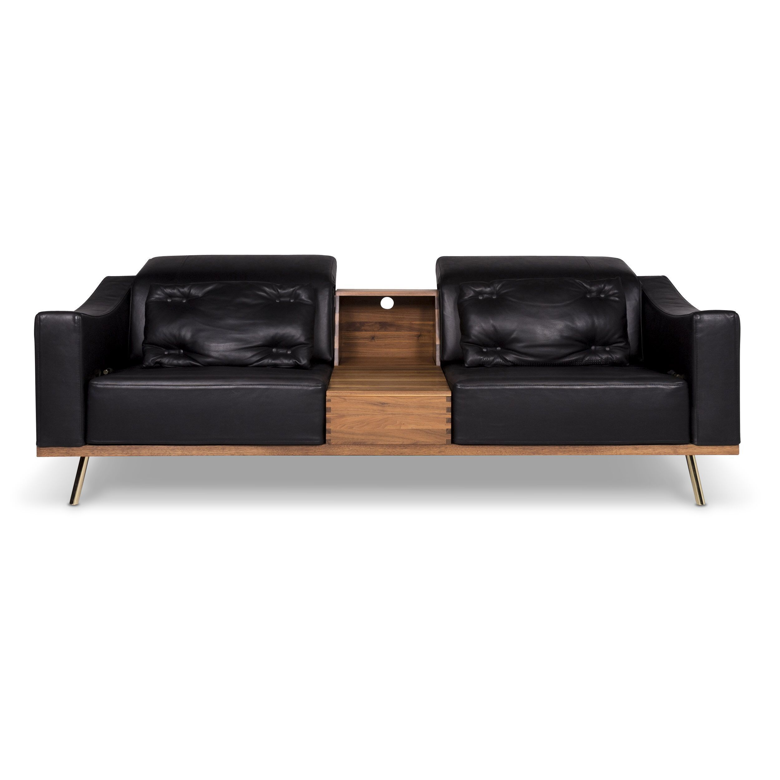 Brühl Und Sippold Brühl Sippold Deep Space Designer Leather Wood Sofa Two Seater Couch 9472