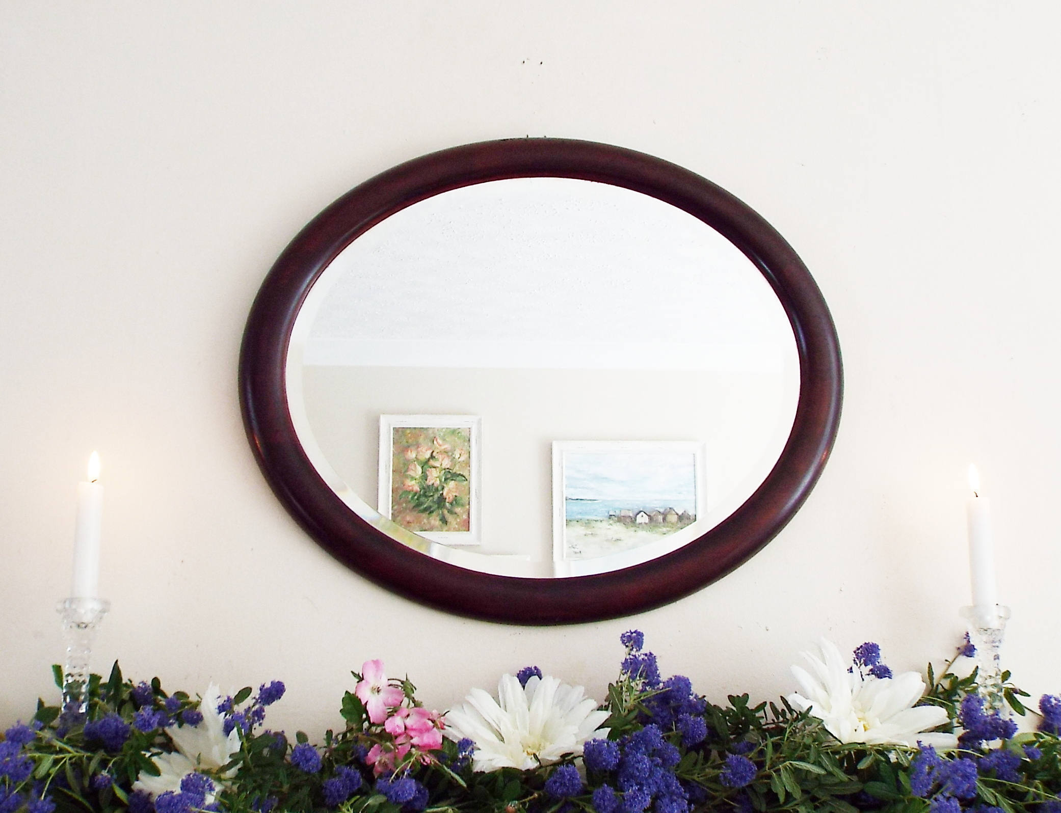 Oval Mirror Wood Frame Antique Mirror Vintage Oval Mirror Bevelled Edge Mirror Large Mahogany Wooden Framed Mirror