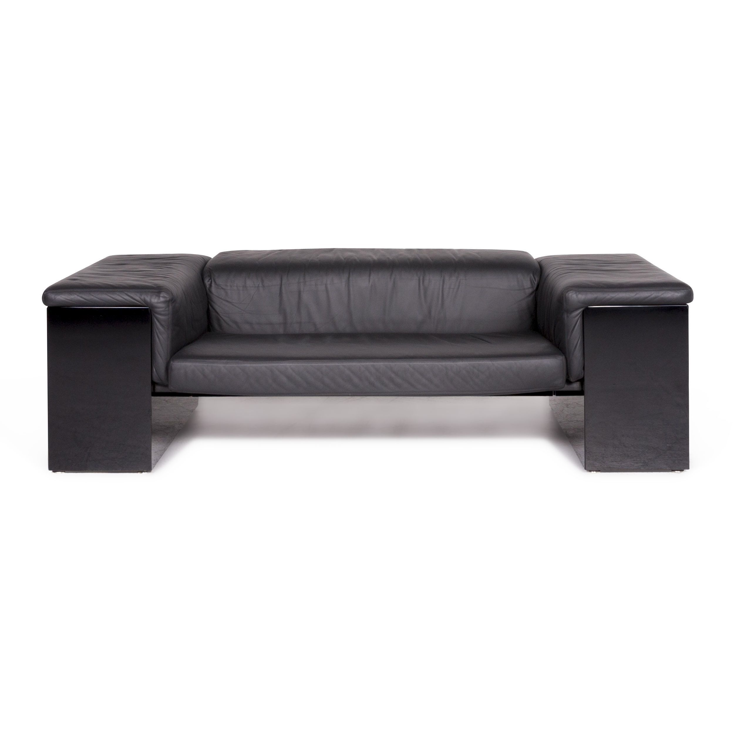 Walter Knoll Sofa Walter Knoll International Brigadier Designer Leather Sofa Black Cini Boeri Two Seater Couch 9047