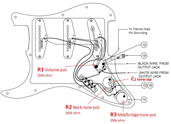capacitor del Schaltplan for guitar