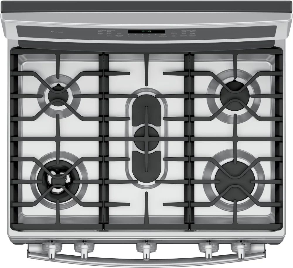 ge profile pgb940zejss top view showing dual purpose center oval burner