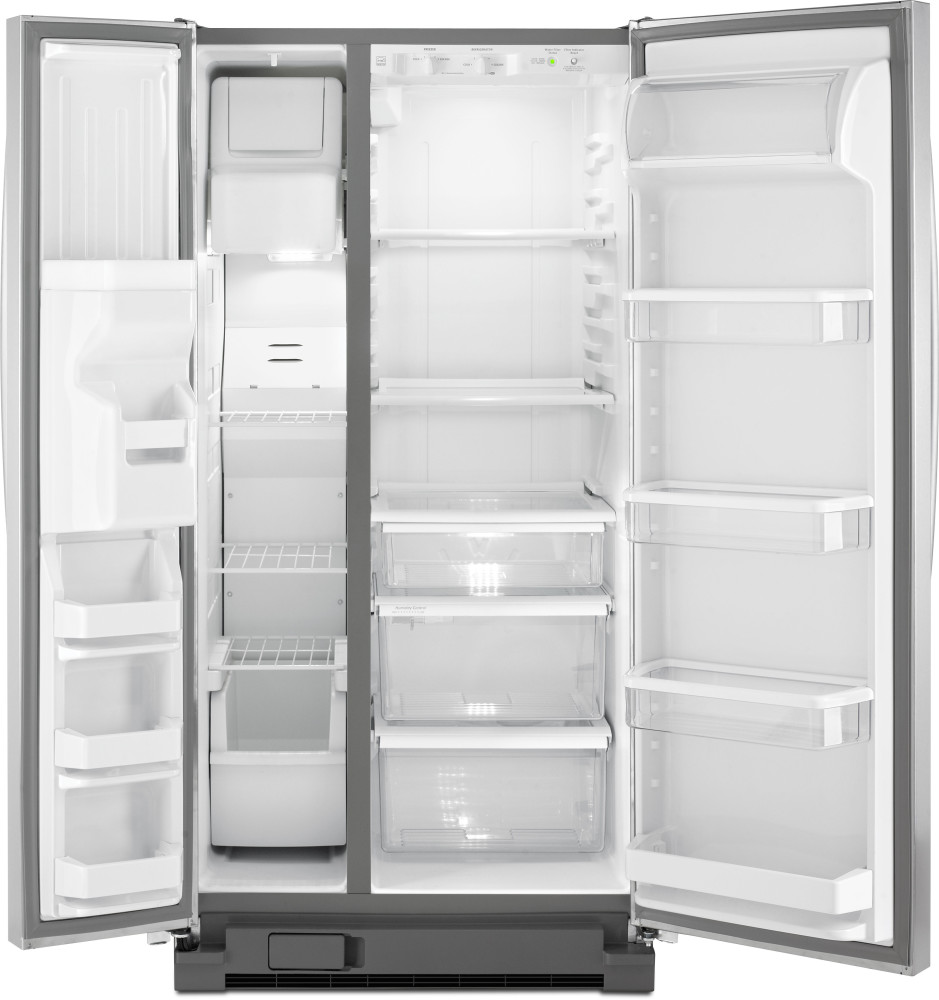 Monochromatic Stainless Steel Whirlpool Wrs322fda 33 Inch Side-by-side Refrigerator With