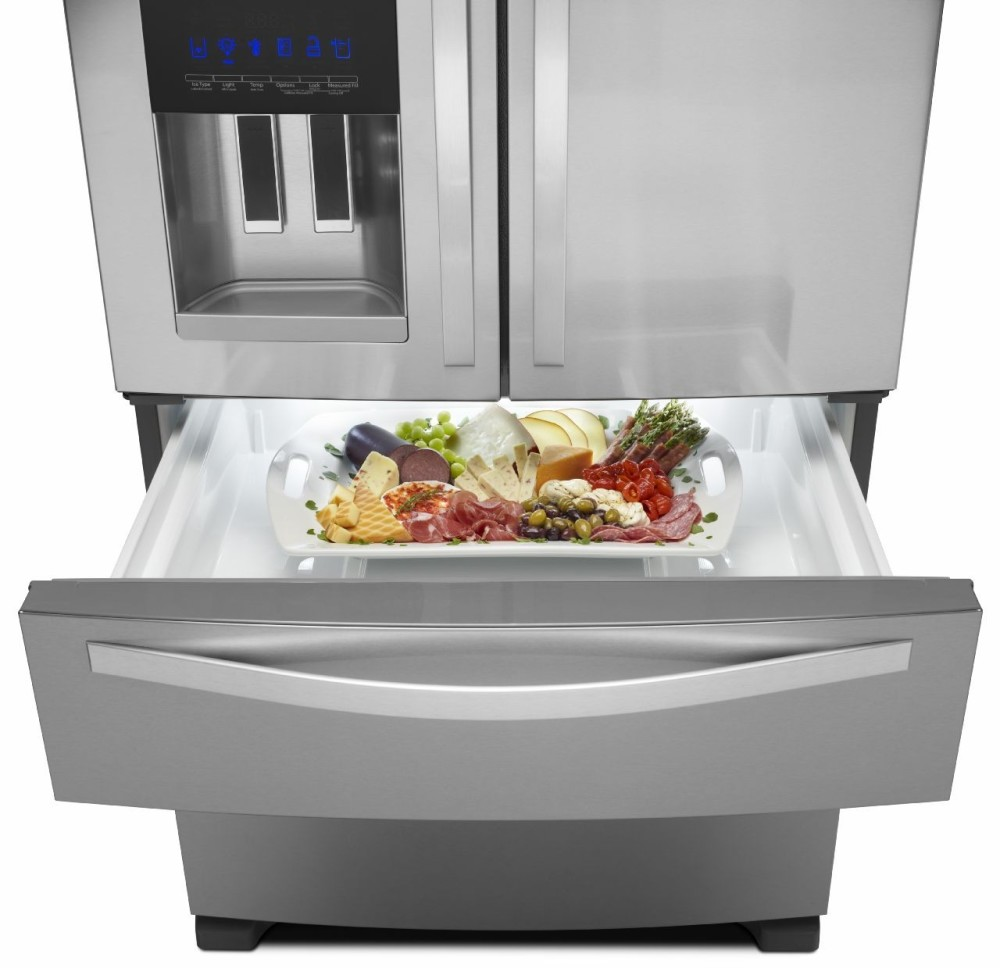 Monochromatic Stainless Steel Whirlpool Wrx735sdbm 36 Inch French Door Refrigerator With