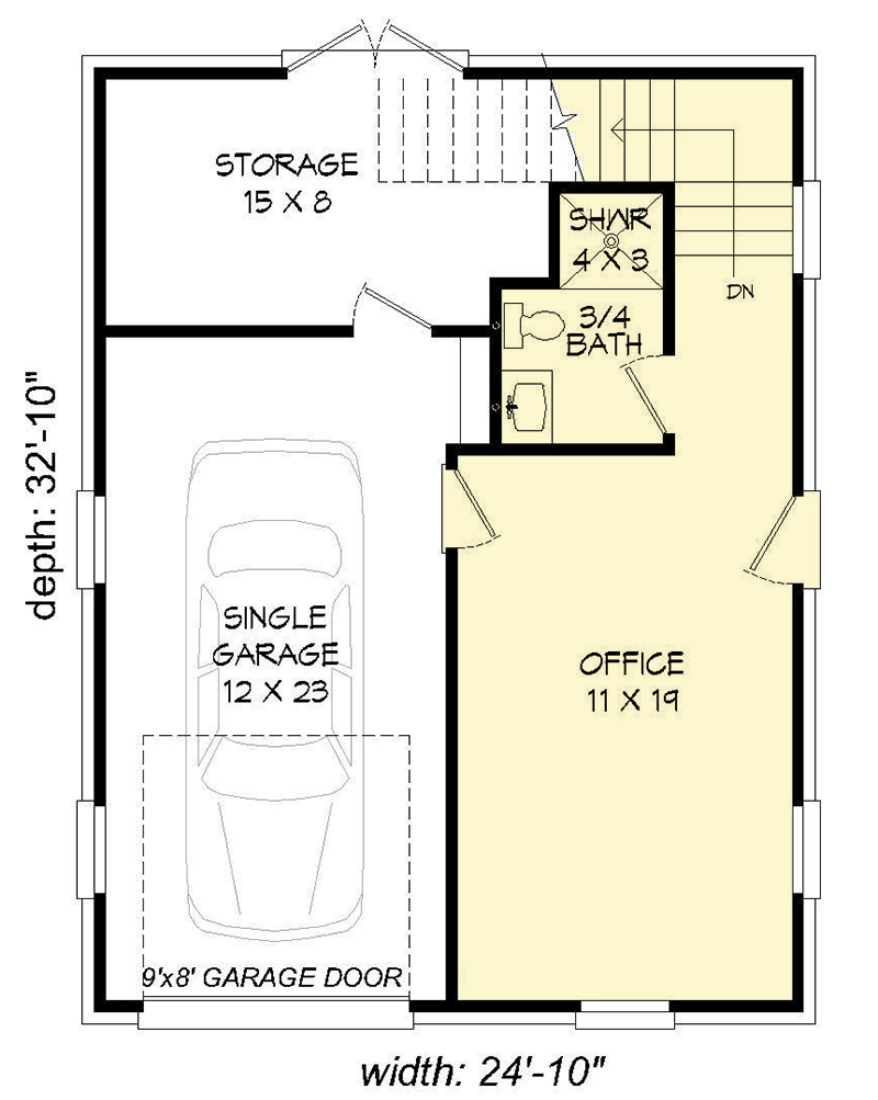 Office Plans Plan 68447vr Detached Garage With Rec Room And Office