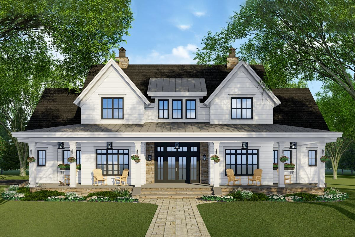 Modern French Farmhouse Exterior Plan 14679rk Modern Farmhouse Plan With French Door Greeting