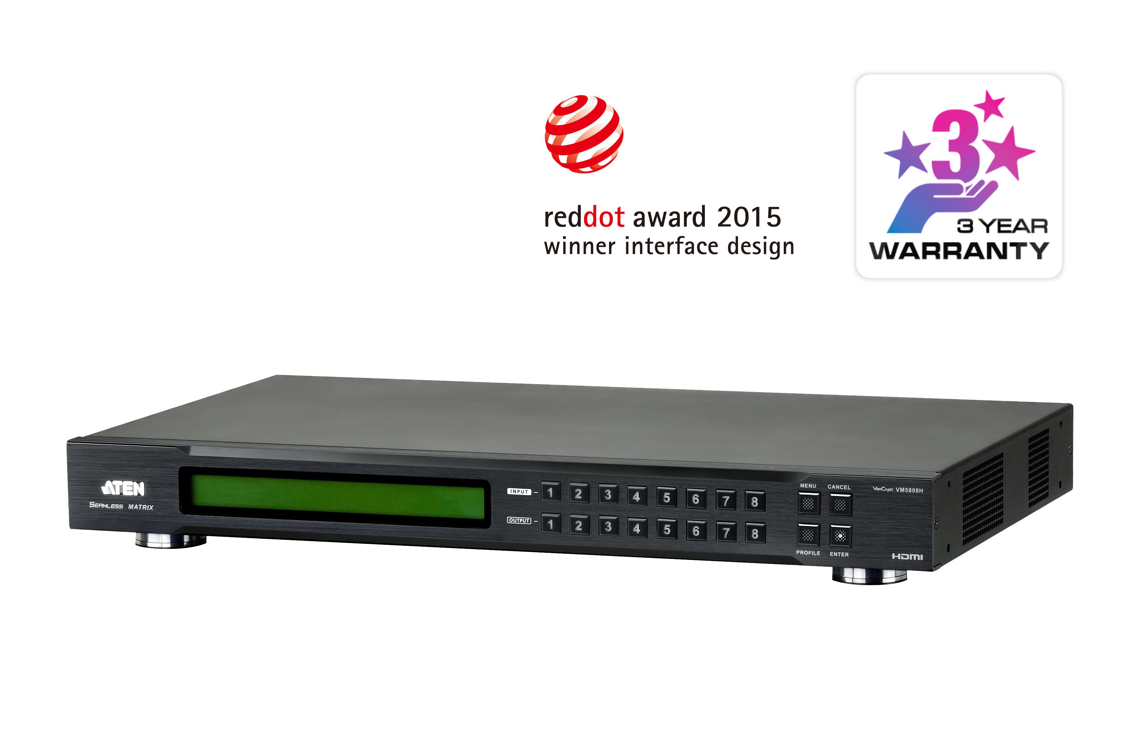 8 x 8 HDMI Matrix Switch with Videowall  Scaler - VM5808H, ATEN