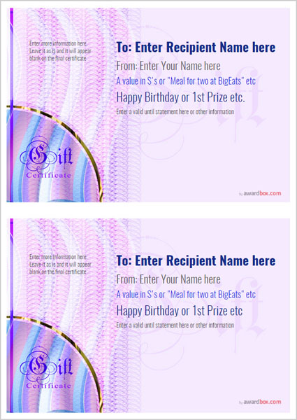 Free Printable Gift Certificate Template designs for home, fun or