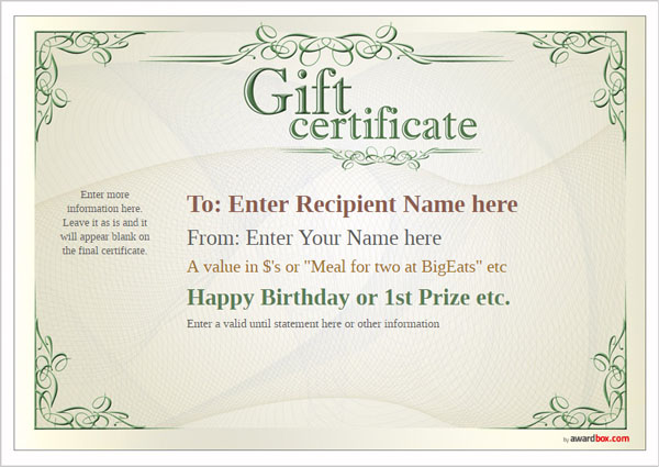 Free Printable Gift Certificate Template designs for home, fun or - gift certificate templete