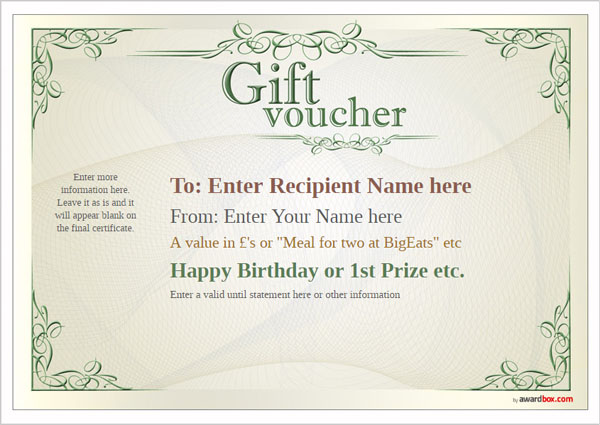 Free Gift Voucher Template designs to print or download - blank voucher