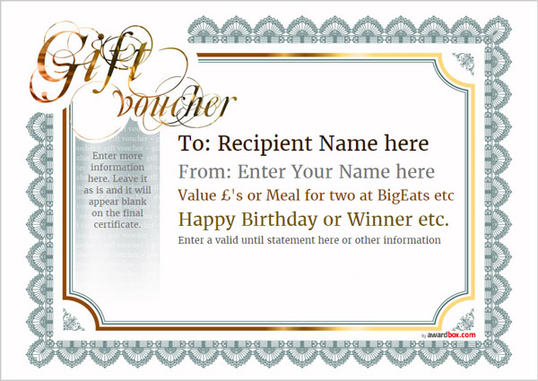 Free Gift Voucher Template designs to print or download - prize voucher template