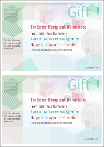 Free Gift Voucher Template designs to print or download - Lunch Voucher Template