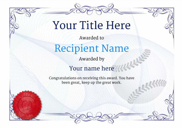 Use free Baseball certificate templates - by awardbox - Award Paper Template