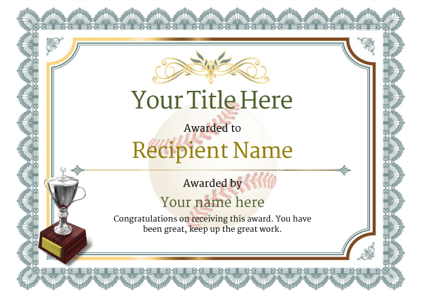 Use free Baseball certificate templates - by awardbox - award certificate template