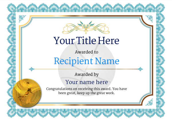 Free Basketball Certificate templates - Add Printable Badges  Medals